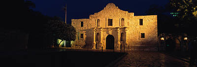 Ancient Civilization Photograph - Building Lit Up At Night, Alamo, San by Panoramic Images