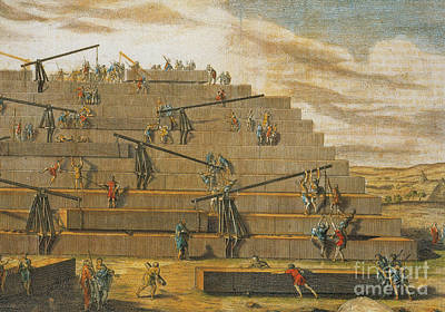 Building Of Pyramids Of Giza, Egypt Print by Photo Researchers