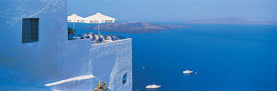 Santorini Photograph - Building On Water, Boats, Fira by Panoramic Images