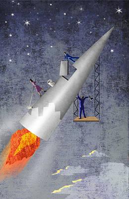 Building Rocket Art Print by Steve Dininno