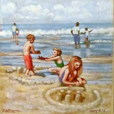 Painting - Building Sandcastles by Janet McGrath