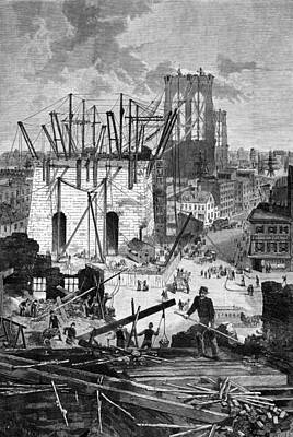 Building The Brooklyn Bridge Art Print by Everett