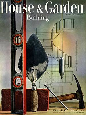 Building Tools Against Stairs Art Print