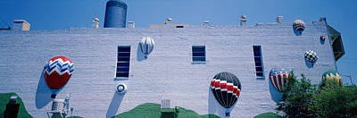 Building With Balloon Decorations Art Print