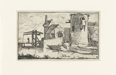 Dilapidated Drawing - Building With Dilapidated Tower With A Drawbridge by Artokoloro