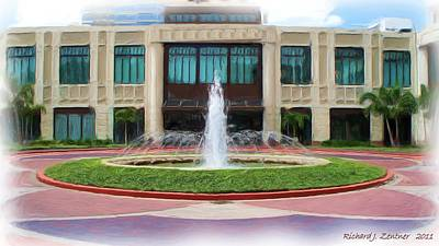 Art Print featuring the digital art Building With Fountain Painting by Richard Zentner