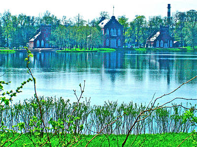 Catherine Palace In Russia Photograph - Buildings Across A Lake On Grounds Of Catherine's Palace In Pushkin-russia by Ruth Hager