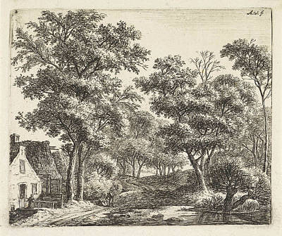 Shed Drawing - Buildings Along A Forest Trail, Anthonie Waterloo by Anthonie Waterloo And Cornelis Danckerts (ii) And Josua & Reinier Ii Ottens