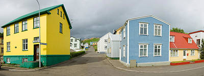 Buildings Along A Street, Akureyri Art Print by Panoramic Images