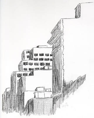 Montreal Cityscapes Drawing - Buildings Along Ste. Catherine by Duane Gordon