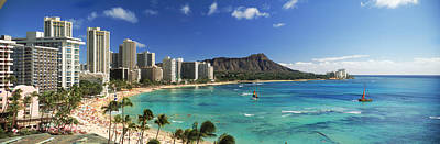 Diamond Head Photograph - Buildings Along The Coastline, Diamond by Panoramic Images