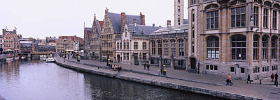 Belgium Photograph - Buildings Along The River, Leie River by Panoramic Images