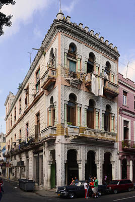 Havana Photograph - Buildings Along The Street, Havana, Cuba by Panoramic Images