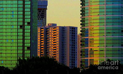 Buildings At Sunset Art Print
