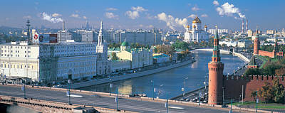 Buildings At The Waterfront, Moskva Art Print by Panoramic Images