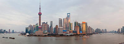 Buildings At The Waterfront, Pudong Art Print by Panoramic Images