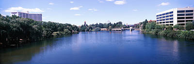 Buildings At The Waterfront, Spokane Art Print by Panoramic Images