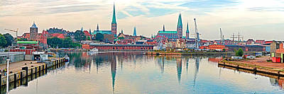 Lubeck Photograph - Buildings At The Waterfront With Church by Panoramic Images