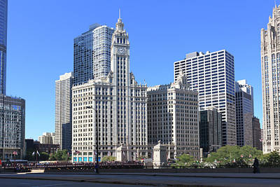 Chicago Photograph - Buildings By The Chicago River, Chicago by Fraser Hall