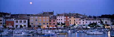 Moonlit Night Photograph - Buildings, Evening, Moonrise, Rovinj by Panoramic Images