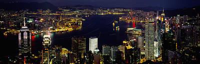 Hong Kong Photograph - Buildings Illuminated At Night, Hong by Panoramic Images