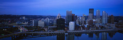 Buildings In A City At Dusk Print by Panoramic Images