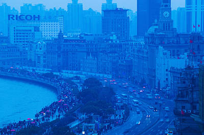 Bund Photograph - Buildings In A City At Dusk, The Bund by Panoramic Images