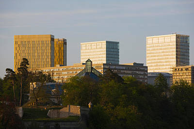 Luxembourg Photograph - Buildings In A City, Kirchberg Plateau by Panoramic Images