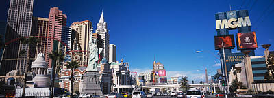 Statue Of Liberty Replica Photograph - Buildings In A City, The Strip, Las by Panoramic Images