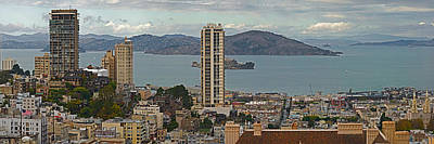 Alcatraz Island Photograph - Buildings In A City With Alcatraz by Panoramic Images
