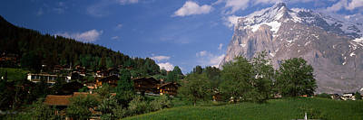 Grindelwald Photograph - Buildings In A Village, Mt Wetterhorn by Panoramic Images