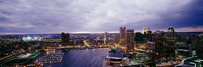 Baltimore Inner Harbor Photograph - Buildings Lit Up At Dusk, Baltimore by Panoramic Images