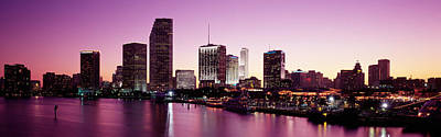 Biscayne Bay Photograph - Buildings Lit Up At Dusk, Biscayne Bay by Panoramic Images
