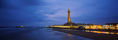 Buildings Lit Up At Dusk, Blackpool Art Print by Panoramic Images