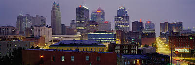Clear Sky Photograph - Buildings Lit Up At Dusk, Kansas City by Panoramic Images
