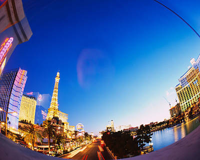 Buildings Lit Up At Dusk, Las Vegas Print by Panoramic Images