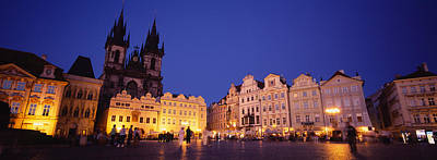 Buildings Lit Up At Dusk, Prague Old Art Print by Panoramic Images