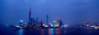 Buildings Lit Up At Dusk, Shanghai Art Print by Panoramic Images
