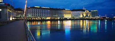 Geneva Photograph - Buildings Lit Up At Night, Geneva by Panoramic Images