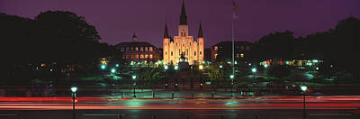 St. Louis Cathedral Photograph - Buildings Lit Up At Night, Jackson by Panoramic Images
