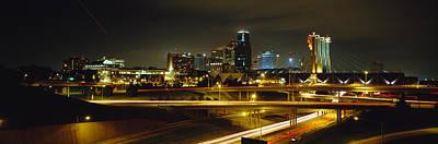 Buildings Lit Up At Night, Kansas City Art Print