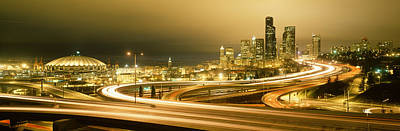 Seattle Skyline Photograph - Buildings Lit Up At Night, Seattle by Panoramic Images