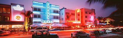 Beach Bicycle Photograph - Buildings Lit Up At Night, South Beach by Panoramic Images