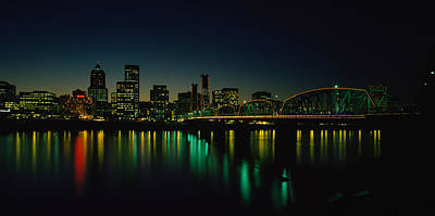 Hawthorne Photograph - Buildings Lit Up At Night, Willamette by Panoramic Images