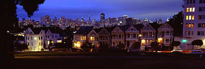 Buildings Lit Up Dusk, Alamo Square Art Print