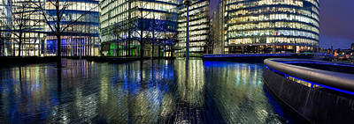 Buildings Near City Hall Lit Art Print by Panoramic Images