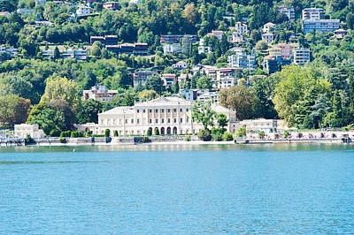 Lake Como Photograph - Buildings On A Hill, Villa Olmo, Lake by Panoramic Images