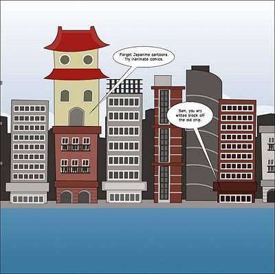 Editorial Cartoon Mixed Media - Buildings Talk Japanime Cartoon by OptionsClick BlogArt
