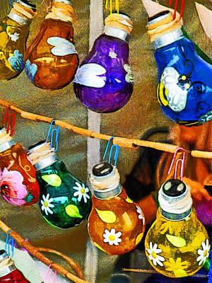 Bulbs And Bamboo Art Print