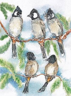 Painting - Bulbul From A Bird's Eye View by Donna Acheson-Juillet